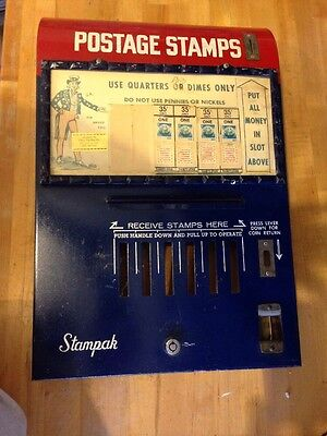 Vintage  Postage Stamp Vending Machine Front Sign Only Not Complete Machine