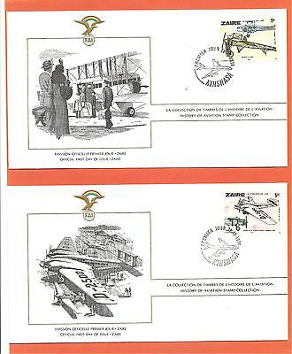 History of Aviation, 2 First Day Covers, Zaire, December 28th 1978.