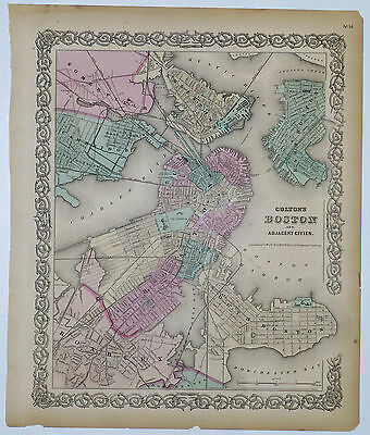 1855 Genuine Antique map of Boston & adjacent cities. Signature Border. Colton