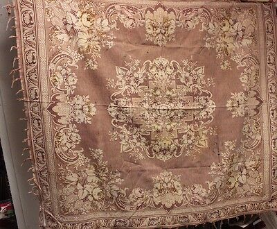 "Romantic Faded French Victorian (1870) Jacquard Woven ""Throw"" Or Panel Textile"