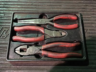Snap On 3 Piece Pliers Set Linesman Long Nose Side Cutters