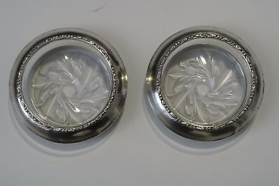 Lot 2 Vtg. Amston Sterling Silver Rim Cut Glass Crystal Champagne Coasters # 144