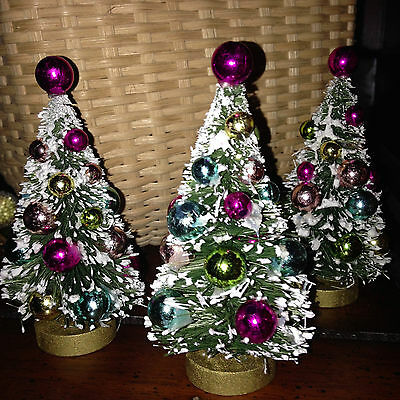 Set of 3 Flocked Bottle Brush Christmas Trees Pink Gold Aqua Green Ornaments