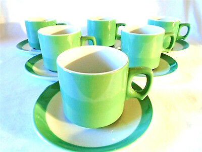 Set of 6 Vintage Wood & Sons NHS Green Cups and Saucers Woods Ware