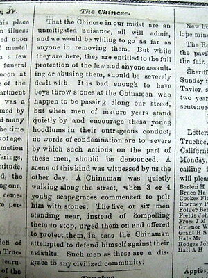 Rare 1874 TRUCKEE newspaper CHINESE INSULTED as being a NUISANCE in CALIFORNIA
