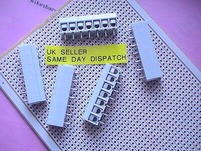 5 X TERMINAL BLOCK 7 WAY 15 Amp  WILL FIT VERO BOARD JOIN/SLOT THEM  5MM SPACED