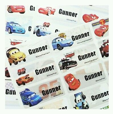 40 Disney Cars Stickers Movie Waterproof Name Labels Fire Truck Pixar Party Camp