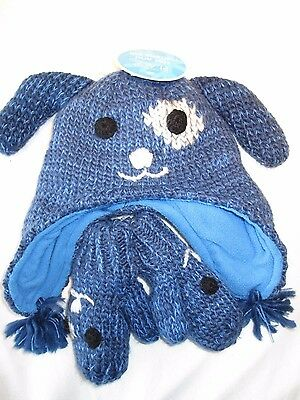 Boys Winter hat & mittens, size 12-24 months The Childrens Place NEW blue puppy