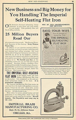 Big 1911 Imperial Brass Self Heating Flat Iron Ad Chicago Il Illinois