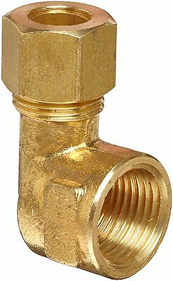 """Anderson Metals Brass Tube Fitting, Elbow, 3/8"""" Compression x 3/8"""" Female Pipe"""