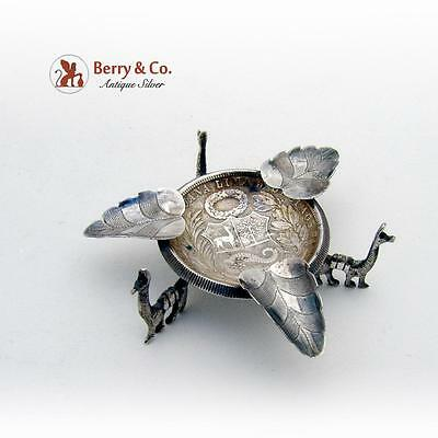 Peruvian 1 Sol Coin Leaf Llama Ashtray Coin Sterling Silver 1926