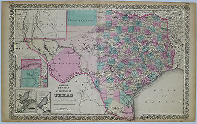 1855 Genuine Antique map of Texas. Signature Border. Hand Colored. Colton