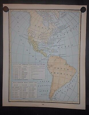 North South America Mexico Discovery Settlement Wars Historical Map Hand Colored