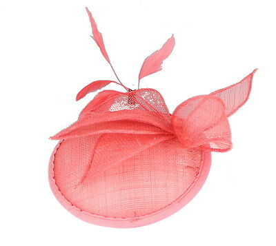 Coral Fascinator on Headband/ Clip-in for Weddings, Races and Occasions-5856