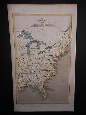 United States 1841 Settlement 13 Colonies Map Hand Colored