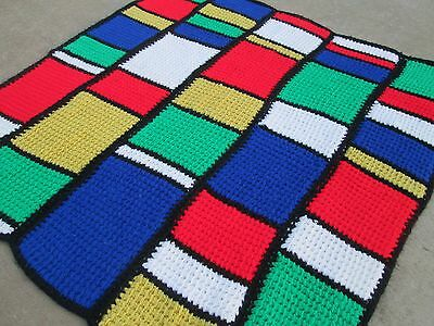 """Vintage 48""""x48"""" Piet Mondrian Style Primary Colors Crocheted Afghan Throw Retro"""