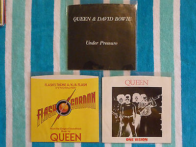 Lot of 3 QUEEN 45rpm PICTURE SLEEVES ONLY Flash's Theme/Under Pressure/1 Vision