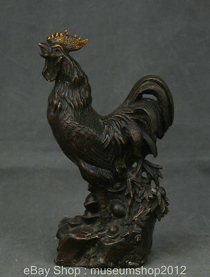 """10"""" China Folk Feng Shui Bronze Stand Zodiac Year Rooster Cock Wealth Sculpture"""