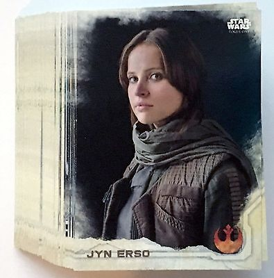 2016 Topps Star Wars Rogue One Series 1 BASE Set 90 total cards Jyn Erso + Bonus