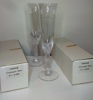2 Crystal Champagne flutes / glasses - Igor Carl Faberge Kissing Snow Doves