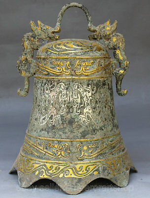 "10"" Old Antique Chinese Culture Temple Church Bronze Gilt Dragon Hang Bell Zhong"