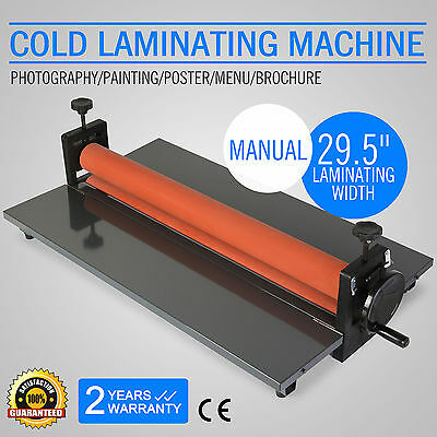 """29.5"""" Cold Laminator Machine Mounting Adhensive Soft Rubber 4 Roller Manual"""