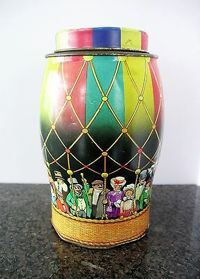 """Vtg Tea Biscuit Tin Hot Air Balloon Colorful Decor England 1960s 6.5"""" Tall"""