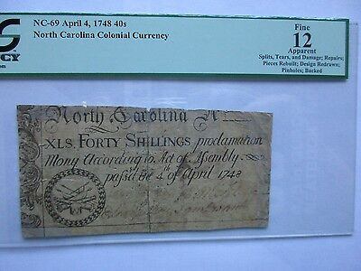 Colonial Currency North Carolina NC-69 1748 40s, Fine-12 apparent