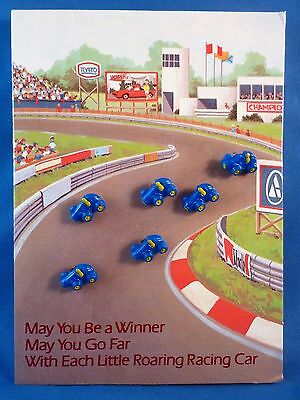 Set Of Six Tiny Avon Roaring Racing Car Buttons On Blank Greeting Card (1983)