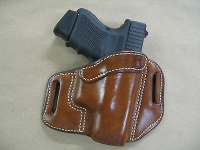 Glock 26, 27, 33 OWB Leather 2 Slot Molded Pancake Belt Holster CCW TAN RH
