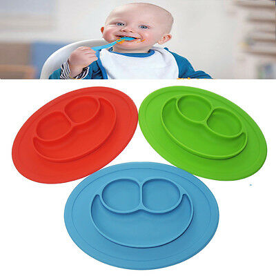 Divided Kids Dinner Plates Children Tray Food Silicone Mat Baby Suction Plates