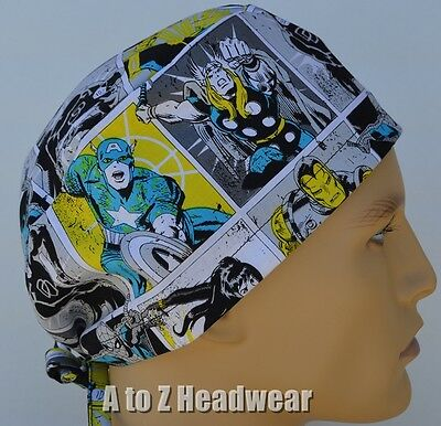 Marvel Characters Comic Block Bl/Yel TRADITIONAL Unisex Surgical Scrub Hat Cap