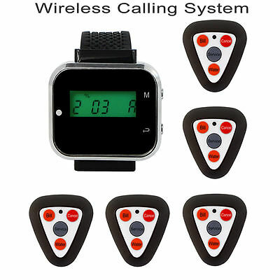 5 Call Pager Wireless Restaurant Calling System+Rechargeable Watch Receiver Top
