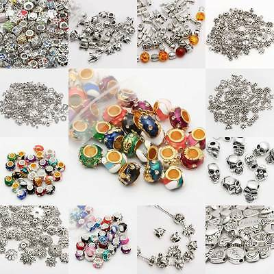 Lot Mixed Tibet Silver Beads Spacer For Jewelry making European Bracelet