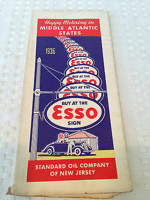 ANTIQUE 1936 ESSO Vintage Road Map MIDDLE ATLANTIC STATES Standard Oil Company