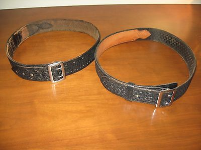 Vintage Pair of Black Leather Police Duty Belts, Original LBPD Used Conditions