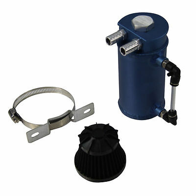 Aluminum Oil Reservoir Catch Can Tank With Breather Filter Baffled Best Blue New