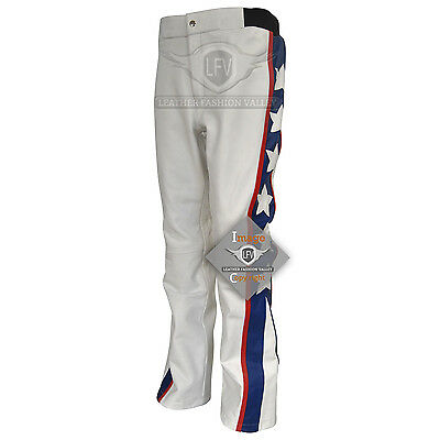 Evel Knievel Costume Leather Trouse Evel Knievel White Motorcycle Leather Pants