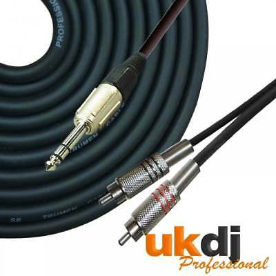 """3m 6.35mm 1/4"""" inch TRS Jack Stereo to Twin 2 x RCA Phono Plug Cable Audio Lead"""