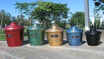 Set Of Vintage Coloured Anodised Aluminium Canisters