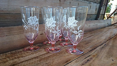 Set of 6 vintage pink glass parfait / wine glasses with white roses