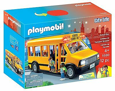 PLAYMOBIL 5680 SCHOOL BUS with FLASHING LIGHTS & 4 CHARACTERS *BRAND NEW IN BOX*
