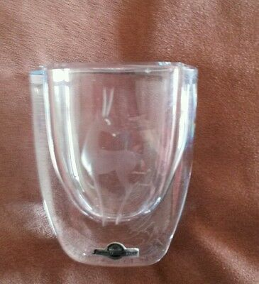 Strombergshyttan Signed Etched Ice Blue Glass Vase with Stag