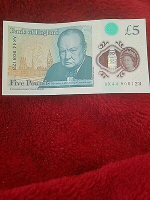 AK44 Bank of England Polymer £5 Five Pound Note Genuine New Note