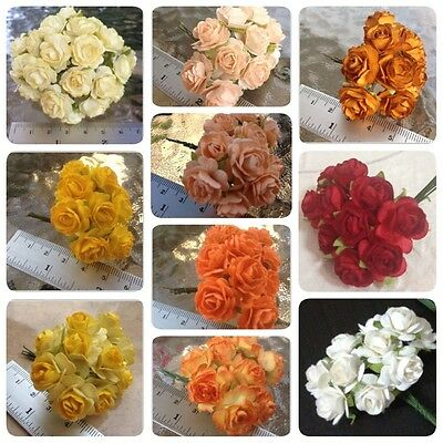 50 Artificial Mulberry Paper Rose flowers Petal Handmade Scrap-booking 1.8 cm#AU