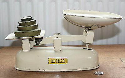Vintage Enamel Harper Cream Kitchen Scales and Weights : Made in England
