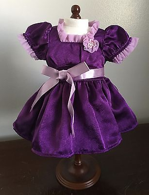 American Girl Emily purple Christmas/holiday dress tagged American Girl retired