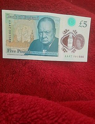AA47 Bank of England Polymer £5 Five Pound Note Genuine New Note