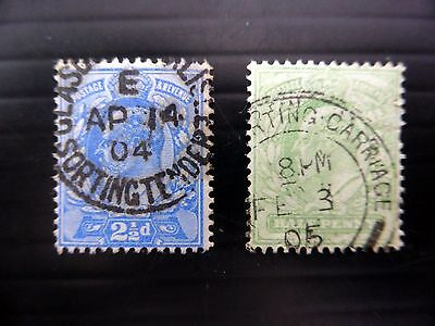 "GB Ed.VII - ½d & 2½d ""Sorting Cancellations"" XZ362"