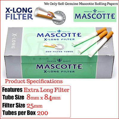 Mascotte Xtra Long Empty Cigarette Filter Tubes 200s - 2/4/8 & 20 Cartons